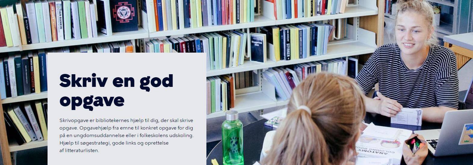 Studerende skriver opgave på et bibliotek