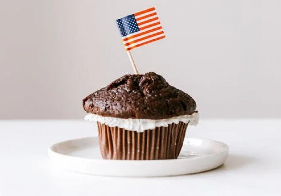 Kage med amerikansk flag